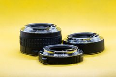 Extension tubes for DSLR camera stock photo