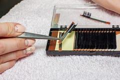 Extensiones artificiales de la pestaña, la mano principal del ` s, extens de la pestaña Fotos de archivo libres de regalías