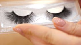 Extensiones y cejas de la pestaña Extensiones y cejas de la pestaña Pestañas falsas en manos femeninas almacen de metraje de vídeo