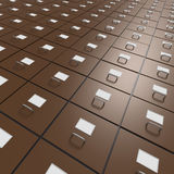 Extensive array of file drawers. Brown file drawers in extensive array as endless bureaucracy Royalty Free Stock Photography