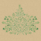 An extensive branch with leaves on kraft paper. Watercolor hand-painted illustration royalty free illustration