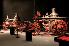 Extensive collection of antique fire trucks,Albany State Museum,New York,2016 Stock Image