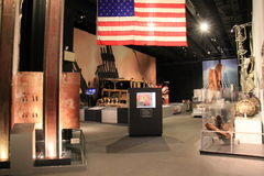 Extensive exhibit with artifacts from September 11th,State Museum,2016. Emotional exhibit with examples of artifacts found after terror attacks from September stock images