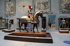 Extensive exhibit of knights and armor, Cleveland Art Museum, Ohio, 2016. Beautiful image in extensive exhibit of knights, tapestry and armor, shown in one of Stock Photos