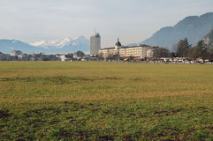 Extensive field in downtown. Interlaken, Switzerland Royalty Free Stock Photos