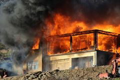 Extensive fire stock photography