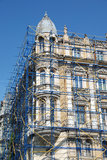 Extensive scaffolding on a building in downtown Stock Photos
