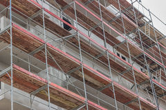 Extensive scaffolding on  building 2 Stock Photo