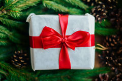 Extensive series of holiday shots with a variety of props and backgrounds. Lots of copyspace for ads. Christmas presents on wooden. Table. A couple of gifts royalty free stock photos