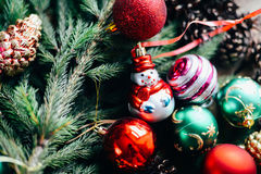 Extensive series of holiday shots with a variety of props and backgrounds. Lots of copyspace for ads. Christmas presents on wooden. Table. A couple of gifts royalty free stock image
