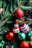 Extensive series of holiday shots with a variety of props and backgrounds. Lots of copyspace for ads. Christmas presents on wooden. Table. A couple of gifts stock images