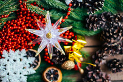 Extensive series of holiday shots with a variety of props and backgrounds. Lots of copyspace for ads. Christmas presents on wooden. Table. A couple of gifts stock photos