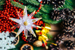 Extensive series of holiday shots with a variety of props and backgrounds. Lots of copyspace for ads. Christmas presents on wooden. Table. A couple of gifts stock image