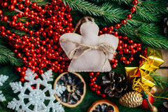 Extensive series of holiday shots with a variety of props and backgrounds. Lots of copyspace for ads. Christmas presents on wooden. Table. A couple of gifts stock photography