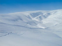 Extensive ski piste and powder snow off piste Royalty Free Stock Images