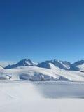 Extensive Ski slopes in Austrian alsp. Ski slope in St Anton resort with lots of snow Stock Images