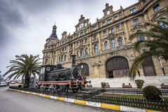 Exterioor of Haydarpasa train station with steam locomotive Royalty Free Stock Photos