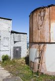 Exterior Abandoned Cannery Building in California stock photo
