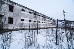 Exterior of  abandoned prison Stock Photos
