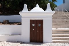 Exterior access door to the presbytery of the mother church stock photos