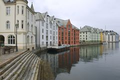 Exterior of the Alesund city buildings in Alesund, Norway. Royalty Free Stock Image