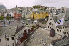 Exterior of the Alesund city buildings in Alesund, Norway. Stock Images