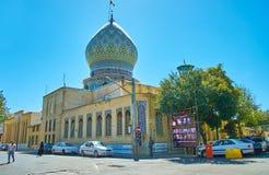Exterior of Ali Ibn Hamzeh Holy Shrine, Shiraz, Iran. SHIRAZ, IRAN - OCTOBER 14, 2017: The brick building of Ali Ibn Hamzeh Holy Shrine with ornate tile royalty free stock images