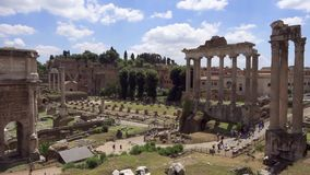 Panorama of ancient ruins Forum Romanum in slow motion. Roman forum in center of Rome city, Italy stock video