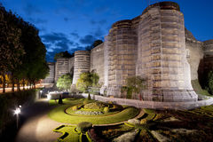 Exterior of Angers Castle at night , Angers city Royalty Free Stock Image