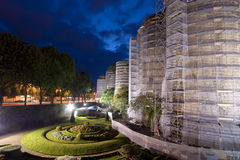 Exterior of Angers Castle at night, France Stock Photos