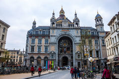 Exterior of Antwerp main railway station Royalty Free Stock Images