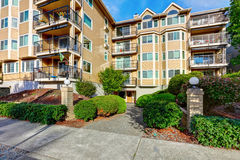Exterior of apartment house complex in Seattle. Stock Photos
