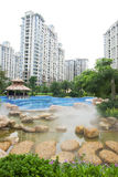 Exterior of the apartments. House with swimming pool and beautiful garden Stock Photo