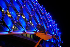 Exterior Architecture Cladding. Exterior Cladding shot at night with blue lights stock photography