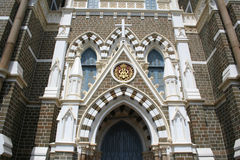 Exterior architecture of Mount Mary Church in Bandra, Bombay  In. Detailed exterior architecture and design of mount mary church Bandra, Mumbai,  India Royalty Free Stock Images