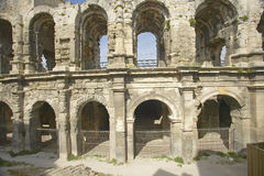 Exterior of the Arena of Arles, from ancient Roman times, can hold 24,000 spectators, Arles, France Royalty Free Stock Photography