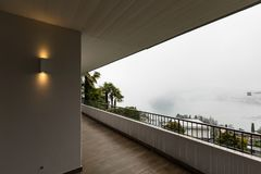 Exterior of terrace with nobody around. Exterior of balcony with nobody around stock photography