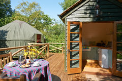 Exterior Of Beautiful Holiday Yurt. In Summer Stock Images
