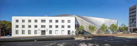 Exterior of Berkeley Art Museum and Pacific Film Archive. BERKELEY, CA - JUNE 18, 2016: Located in downtown Berkeley, BAMPFA art exhibits range from Asian Royalty Free Stock Photography