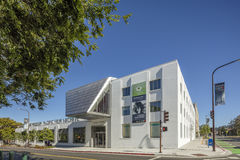 Exterior of Berkeley Art Museum and Pacific Film Archive. BERKELEY, CA - JUNE 18, 2016: Located in downtown Berkeley, BAMPFA art exhibits range from Asian Royalty Free Stock Photos