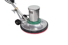 Exterior black stone floor cleaning with polishing machine and c Stock Photos
