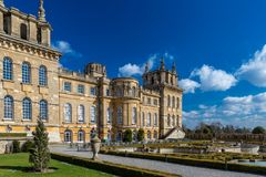Exterior of Blenheim palace in Oxfordshire, UK royalty free stock image