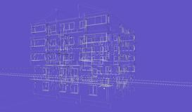 Exterior blue background building wireframes, design rendering, architecture. Exterior building wireframes, design rendering, modern buildings and houses for Stock Photography