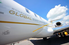 Exterior of Bombardier Global 5000 business jet Royalty Free Stock Photo