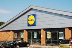 Lidl supermarket, Sussex. Exterior of a branch of German supermarket chain Lidl at St.Leonards-on-Sea in East Sussex, England on May 23, 2018. The international Royalty Free Stock Photo