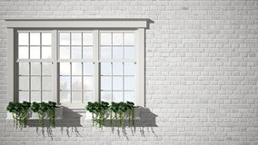 Exterior brick wall with white window with potted plant, blank background with copy space, architecture design concept royalty free stock photography