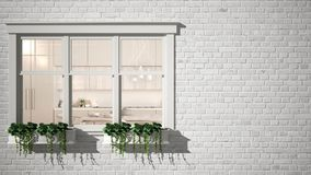 Exterior brick wall with white window with potted plant, showing interior contemporary kitchen, blank background with copy space, royalty free stock photography