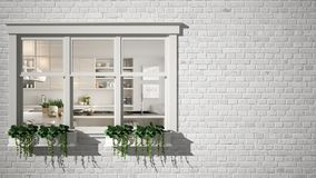 Exterior brick wall with white window with potted plant, showing interior contemporary kitchen, blank background with copy space, royalty free stock photo