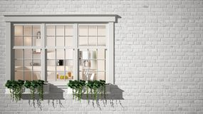 Exterior brick wall with white window with potted plant, showing interior contemporary kitchen, blank background with copy space,. Architecture design concept stock photography