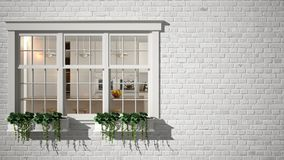 Exterior brick wall with white window with potted plant, showing interior modern kitchen, blank background with copy space, archit stock photos